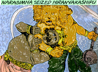 Narasimha and demon Hiranyakasipu
