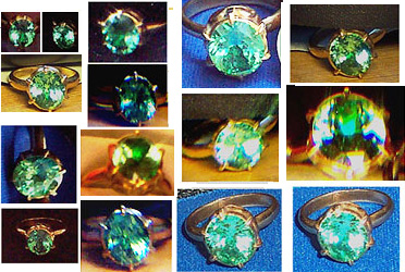 Various angles on the synthetic sapphire ring from Sai Baba