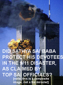 COMPOSITE IMAGE OF TWINTOWERS AND SAI BABA
