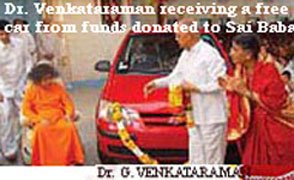 presentation of free car to Dr. G. Venkataraman