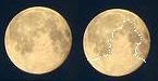 dual photo of moon