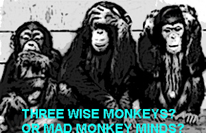 Three wise or mad monkeys