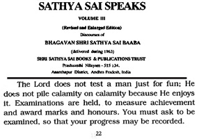 scan of quotation on calamities by Sathya Sai Baba