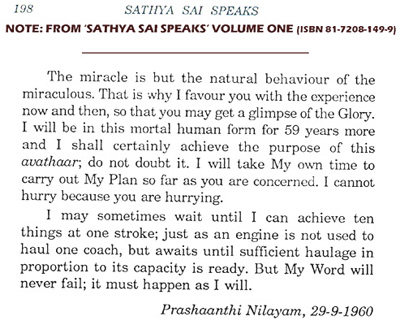 Sai Baba predicts (in 1960)  how long he will live