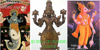 The first 3 of the 10 avatars of Hindu myth