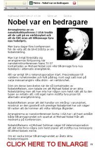 Screen capture of Metro - Swedish news bulletin