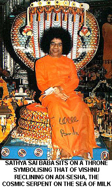 Sai Baba enthroned as Vishnu