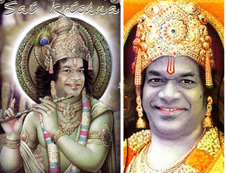 Sathya Sai Baba as Krishna and Rama
