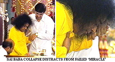 Sathya Sai Baba 'collapses' for the BBC