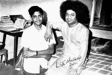 Son of Smt. Vijaya Kumari with Sathya Sai Baba