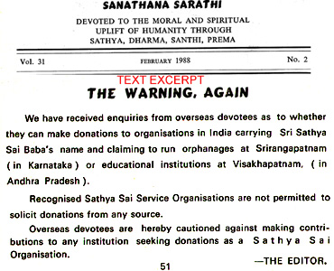 Official Warning against Halagappa in Sathya Sai Baba's journal