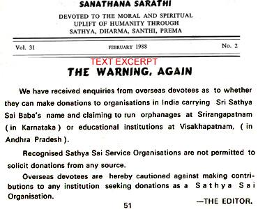 Official Warning against Halagappa in Sathya Sai Baba's journal