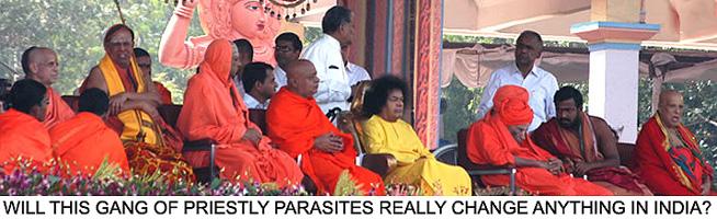 Sai Baba with his ritual priests - saving the world?