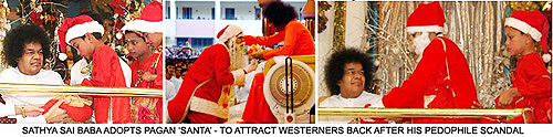 Sathya Sai Baba with Father Christmas and young boys
