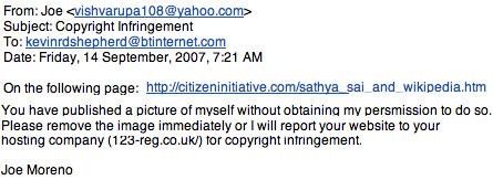 Copy of joe's e-mail to K.R.D. Shepherd