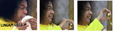 "Sathya Sai Baba shows the ""3-ton golden linga"" in 2002"