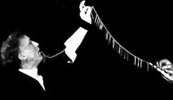 Harry Houdini's needle trick, swallowing dozens of needles and yards of thread and then regurgitating them back up all strung together.