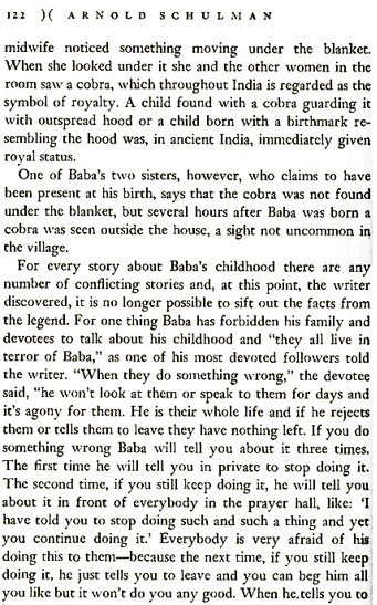 Excerpt from Arnold Schulman's book on Sathya Sai Baba