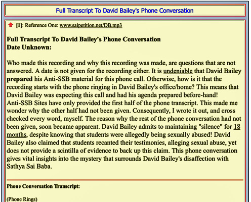 "sscreenshot from Moreno's saisathyasai.com under ""bailey-phone-conversation.html"""