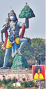 Hanuman, monkey God lifting a mountain to carry it overseas