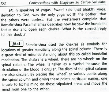 Dr. John Hislop questioned Sai Baba on the kundalini and got a negative reply