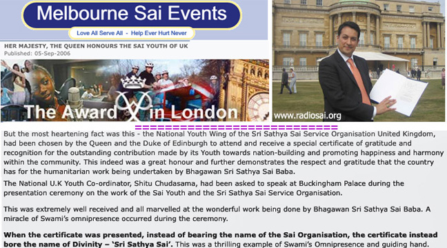 Images and text from Melbourne Sai Organization propaganda