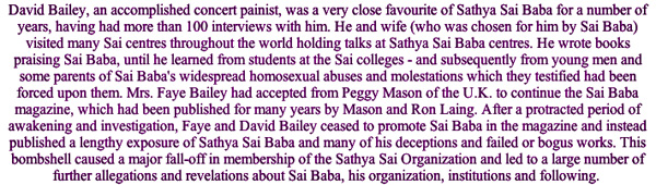 David Bailey, who exposed Sathya Sai Baba's deceptions