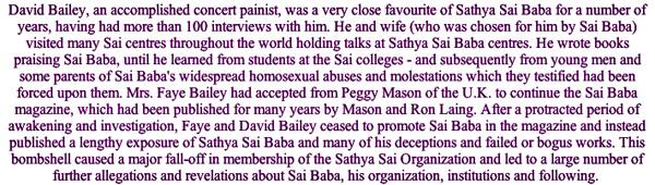 David Bailey, who exposed Sathya Sai Baba's deceptions