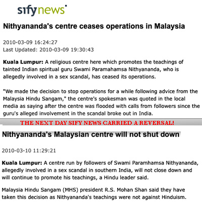 Sweami Nityananda rejected by Hindus in Malaysia, but his teachings okayed!