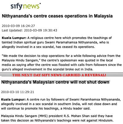 Sweami Nityananda rejected by Hindus in Malaysia, but his teachings okayed!