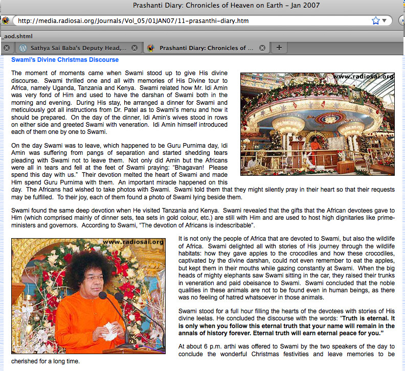 Excerpt from official Sathya Sai propaganda pages on the web