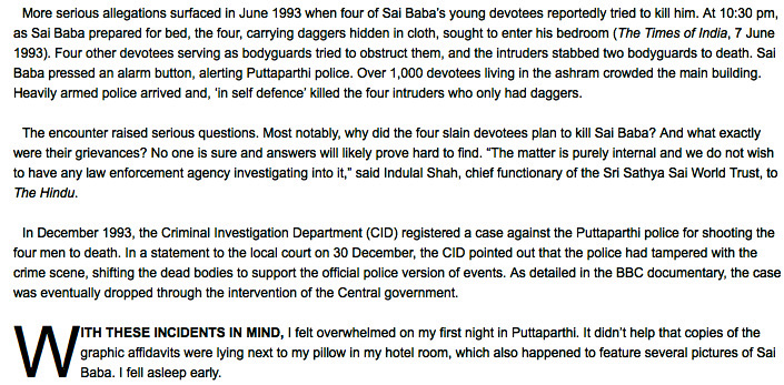 Sathya Sai Baba bedroom murders summarized by Vishal Arora, independent Indian journalist