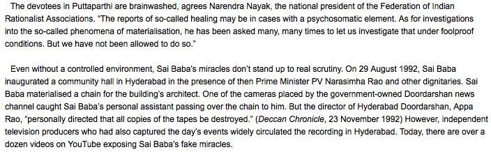 Sathya Sai Baba miracle phenomena debunked