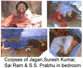 Four victims of police executions in Sathya Sai Baba's bedroom, 1993