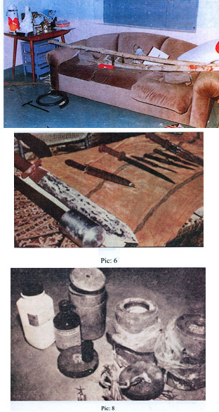 The aftermath of executions: Sai Baba's sofa, knives of the murdered followers, potassium cyanide bottle etc.