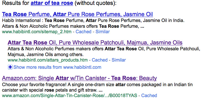 Tea Rose essence (attar) as sold and exported from India