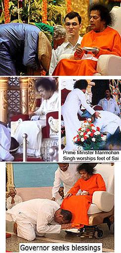 Images of 'padnamaskaar' of Sathya Sai Baba