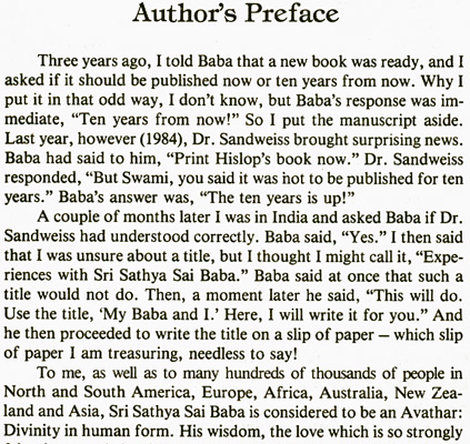 'My Baba and I' by J. Hislop - preface