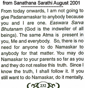 Sathya Sai Baba declares he will not accept padanamaskar - scan from his discourse