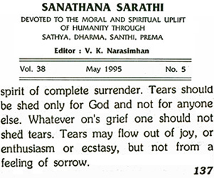 Sathya Sai Baba one shedding tears from his journal Sanathana Sarathi