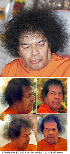 """THIS IS THE CURRENT STATE OF DIVINE BEAUTY - OF THE NOW DOUR AND DEPRESSED SATHYA SAI BABA WHO VENKATARAMAN THINKS TO HAVE 'MATCHLESS BEAUTY' (!) AND WHO """"SEEMS HE IS NOT AWARE OF ANY OF THE MYSTERIES IN THE UNIVERSE HE HAS CREATED"""" IS THIS NOT GULLIBILITY GONE MAD?"""