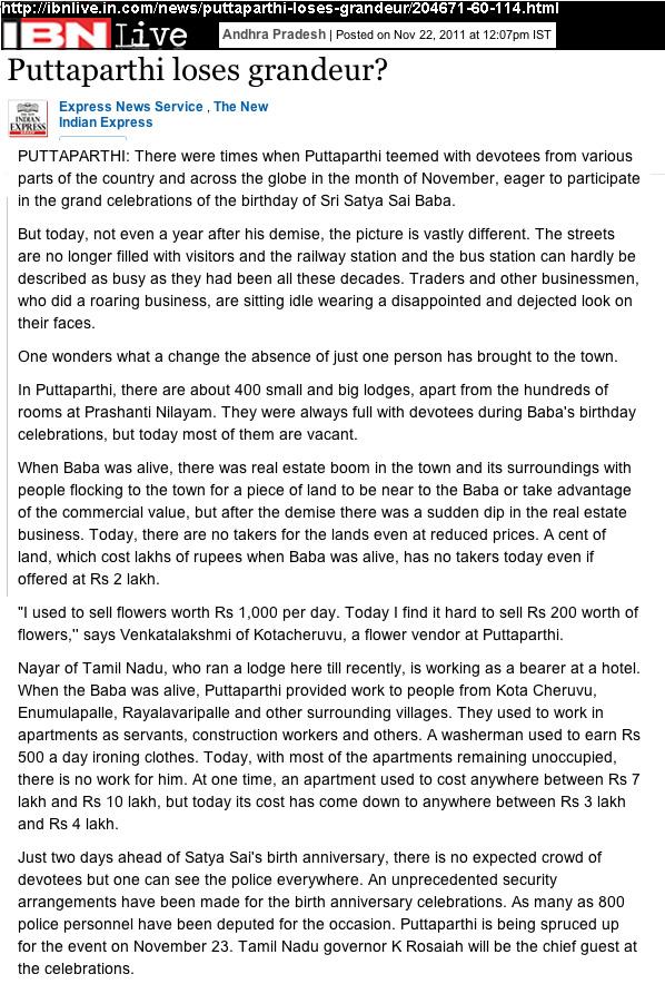 Puttaparthi « Sathya Sai Baba Deceptions Exposed