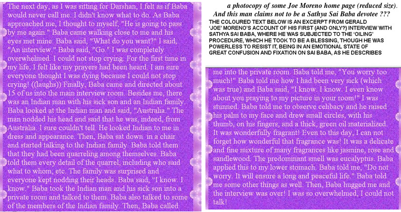 How Sathya Sai Baba oiled Gerald Moreno's lower stomach (an illegal act in India) in a private interview session)