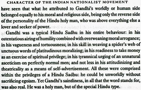 Nirad Chaudhuri on Gandhi