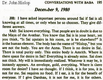 Sathya Sai Baba tells in interview with John Hislop of his omniscience and power