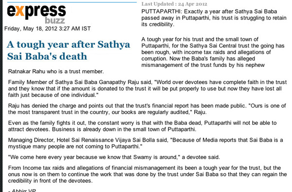 Scan of article in the Indian Express commented by Robert Priddy