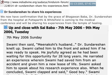 Scan of info. om Dr. Sundareshan, Sathya Sai Baba true believer and college teacher referred to in the article 'Life at Sathya Sai University'