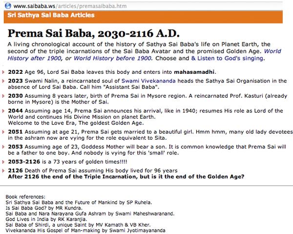 Prema Sai Baba's predicted arrival