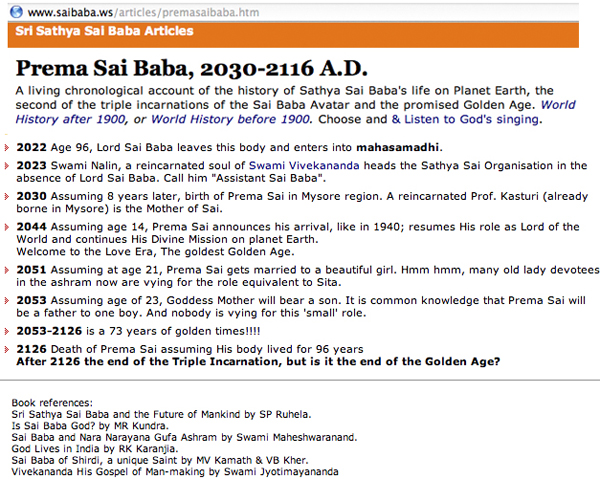 Prema Sai Baba's predicted arrival