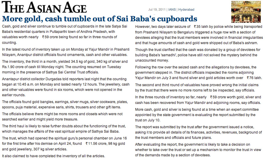 Scan of article on Sathya Sai Baba in the Asian Age